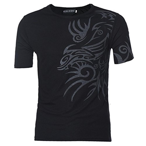 Rcool Männer Jungen Kurzarm T-Shirts Tees Slim Design Bottoming Shirt (XXL, Schwarz) (New Sport Jones Hose York)