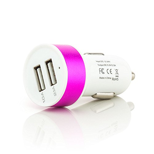 ter 2x USB-Port | Universal Auto Ladegerät für Tablet Smartphone Navi E-book Reader | Farbe: Pink (Amazon Prime-usb-auto-ladegerät)