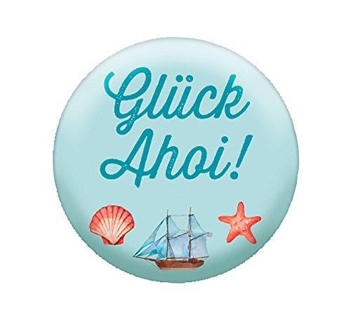 Glas-Magnet Glück Ahoi!: Kühlschrankmagnet - Maße (BxH): 35 x 35mm