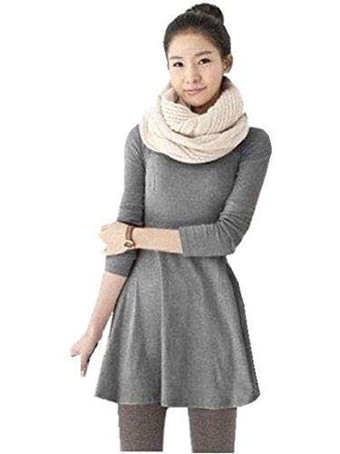 Mytom® Manches Longues Broyage Laine Robe Confortable De Femmes Les Dames, Joker Maxi Robes Décontractées gris clair