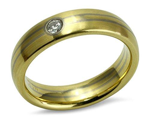 Trauring Ehering Verlobungsring bicolor matt 750 Gelbgold Weißgold Streifen 18 ct Brillant 0,070 ct Größe 53 R01-A0022