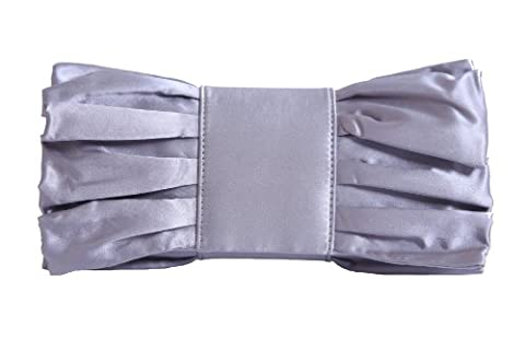 Silver grey satin clutch bag with giant bow and gathers by Olga Berg