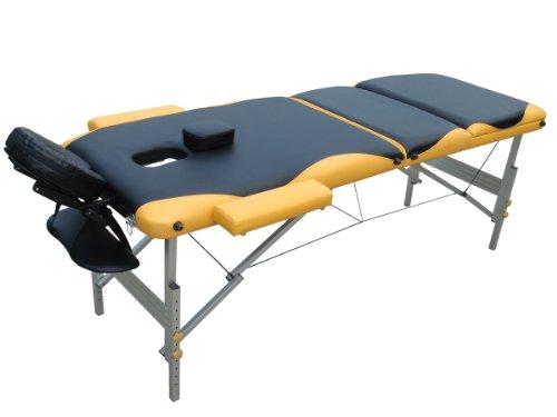 Melko® Tragbare Profi-Massageliege 3 Zonen aus Aluminium und Holz - in verschieden Farben (Aluminium, Schwarz / Gelb) Aluminium-tragbare Massageliege