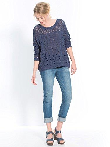 Balsamik - Pull maille fantaisie ajourée, stature - d'1,60m - femme Bleu