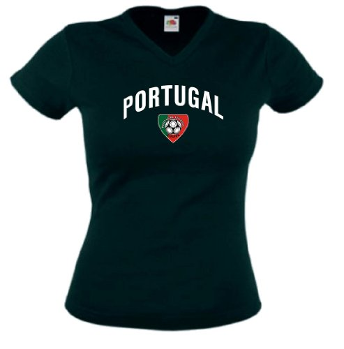 world-of-shirt Portugal Damen T-Shirt Team Flag Trikot|S