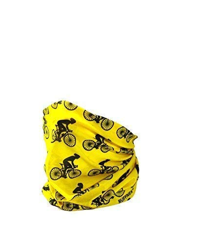 Ruffnek ciclisti design giallo & nero sciarpa multifunzione scaldacollo, ciclismo maschera, copricapo - uomo, donna & bambini