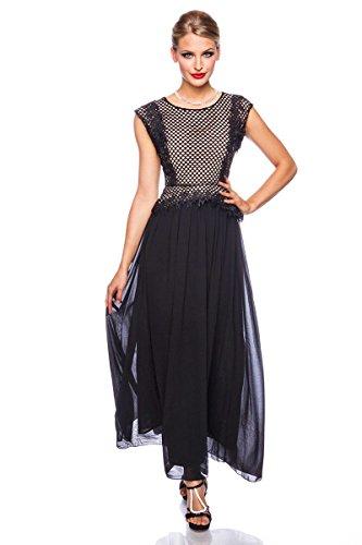 Atixo Abendkleid mit Stickerei - schwarz/beige Schwarz/Beige