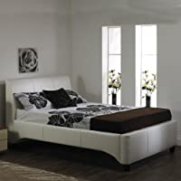 A & I Beds Luxury Michaela Faux Leather Bed Frame - 4FT6 Double - White