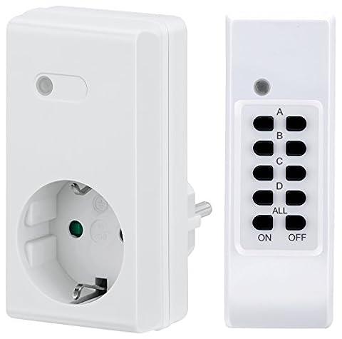 Manax 4canaux Indoor Funk prises Système pour l'intérieur, indicateur LED, portée 30m, 1Pièces, Blanc, MX de rcs200