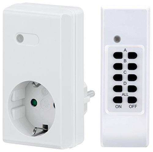 Indoor Komplett System (MANAX MX-RCS200 Funksteckdosen-System Starterset komplett, 4-Kanal (1x Funksteckdose, 1x Fernbedienung), Innenraum/Trockenraum, IP20, weiß)