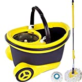 Blyssware® Yellow with Purple Steel CleanSweep Mop Bucket and 1 Extra Refills Mop