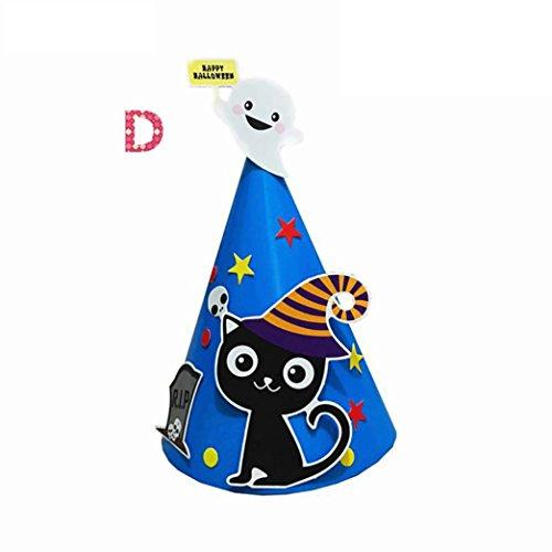 Y56 DIY Kind Papier Cartoon Hexenhut Hexen Hut Mütze Schwarz für Halloween Kostüm Zusatz Kappe (D)
