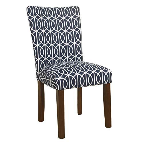 Parsons Stuhl Stoff Stuhl (Benjara BM196082 Rankgitter mit Stoff gepolstert Stuhl Parsons mit Holzbeinen, Blau und Weiß)