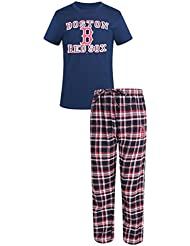 "Boston Red Sox MLB ""Tiebreaker"" Men's T-Shirt Chemise & Flannel Pajama Sleep Set"