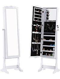 LANGRIA Schmuckschrank Floralen Geschnitzt Spiegelschrank, 5 Regale, Abschließbar, 3 Kipppositionen, Aufbewahrung für Ringe, Ohrringe, Armbänder, Kosmetik