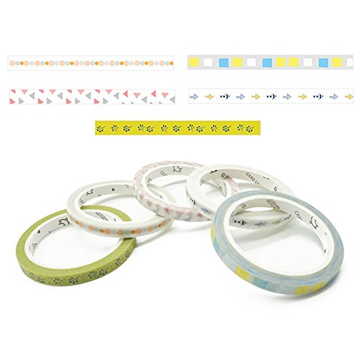 Art Washi Tape Japanese farbigen Maskierung Tapes Slim Dekorative Tapes Kreative für Scrapbooking Partys Festivals 5 mm x 7 m 5 x Geometric patterns (Geburtstag Party Dekorationen Künstler)