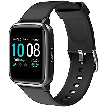 GRDE Smartwatch, Bluetooth V5.0 Reloj Inteligente Deportivo Impermeable 5ATM con Pantalla Completa Táctil Monitor de Ritmo Cardíaco y Sueño ...