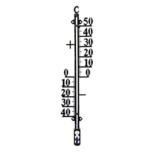 41 cm Metall Aussen - Garten Thermometer Analog . Gartenthermometer schwarz