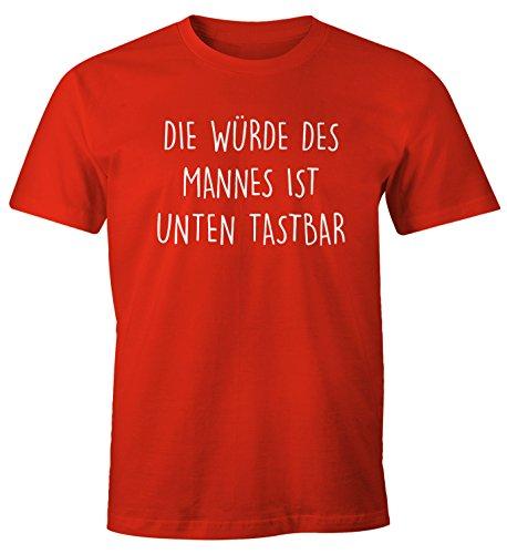 Lustiges Herren T-Shirt mit Spruch Die Würde des Mannes ist unten tastbar Fun-Shirt Moonworks® rot 4XL (Unten Rot Männer)