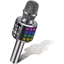 BONAOK Microphone Sans Fil, Microphone Karaoké Enfant Bluetooth Lecteur Enregistreur Portable, Lumières LED Coloré Microphone de Fête Familial pour Appareil Intelligent Android/iOS-Gris métal