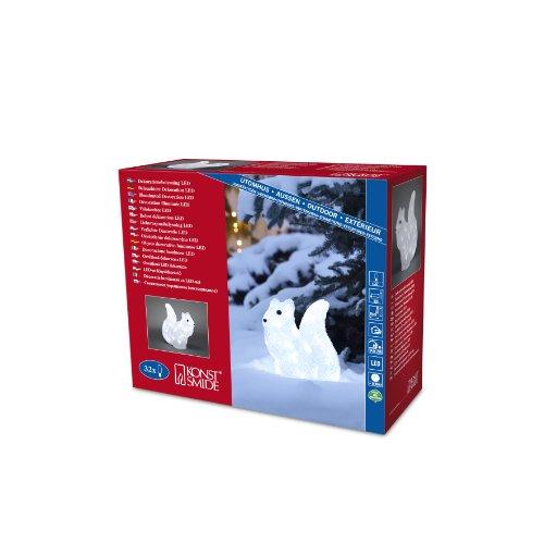 """Konstsmide 6180-203 LED Acrylfigur """"Eichhörnchen"""" / für Außen (IP44) / 24V Außentrafo / 32 kalt weiße Dioden / transparentes Kabel"""