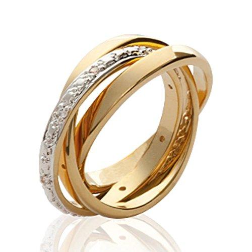 ISADY - Lilo Gold - Damen Ring - 18 Karat (750) Gelbgold platiert - Zirkonium transparent - T 54 (17.2)