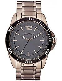 Reloj hombre Louis Villiers reloj 45 mm acero negro y pulsera marrón en acero lv1008