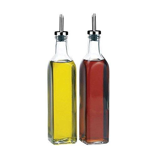 Get Goods Italienisches Set von 2Öl & Essig Spender Flaschen-Klar Glas mit einem Edelstahl-Ausgießer, 500ml/quadratisch-Spülmaschinenfest Drizzler-set