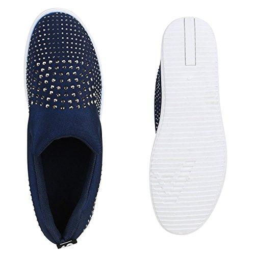 Prints Damen ons Mini Blau Slip Strass Schuhe keilabsatz Sneakers wqwUvAaZ