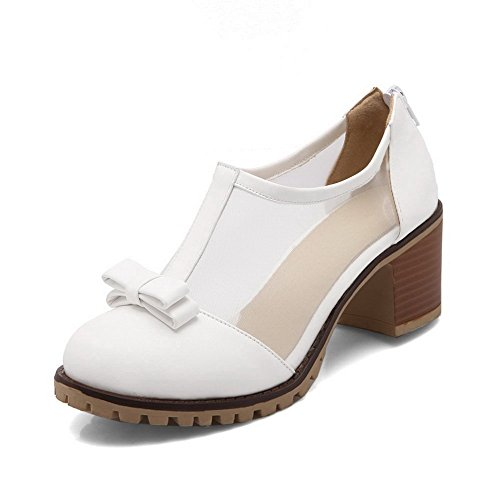 balamasa Femme Round-Toe en métal avec nœud souple Matériau pumps-shoes Blanc
