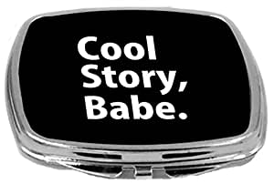 Rikki Knight Compact Mirror, Cool Story Babe White On Black