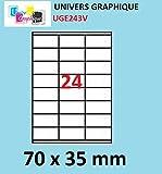 2400Etiketten 70x 35mm–100Blatt A4–24Etiketten selbstklebend durch durch Brett A4Für Tintenstrahldrucker und Laser