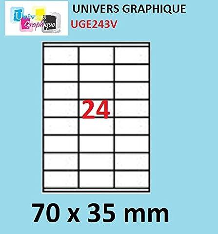 2400 etiquettes 70 x 35 mm - 100 feuilles A4 - 24 étiquettes autocollante par par planche A4 pour imprimante jet d'encre et