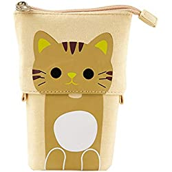 Sostenedor del bolso del lápiz telescópico bolsa lienzo Permanente Pluma linda del gato dibujos animados del lápiz/Plumas de escritorio Organizador Caja con cierre de cremallera - Gato del café