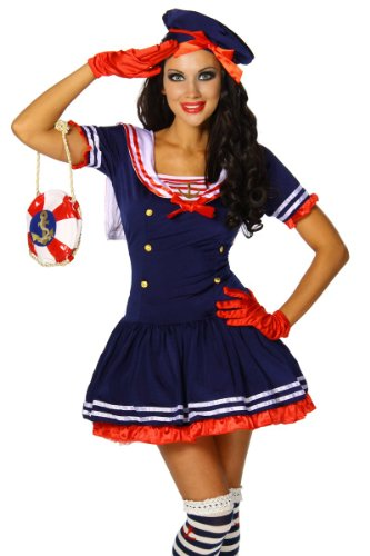 Yourdesignerz Marine-Kostüm Damen blau/rot/weiß S-M (Kostüme Damen Marine Für)