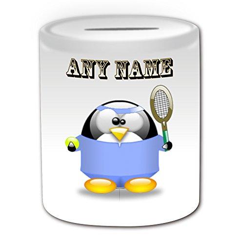 Personalisiertes Geschenk-Tennis Player in blau Spardose (Design Pinguin in Kostüm Thema, weiß)-alle Nachricht/Name auf Ihre (Son In Law Kostüm)