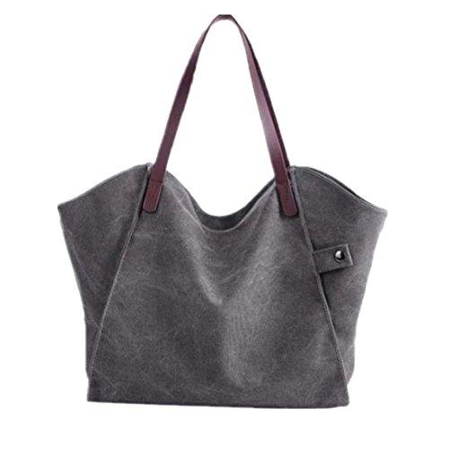 BZLine® Frauen Handtaschen-Schulter-Beutel-große Tote-Segeltuch-Dame-Geldbeutel, 37cm*3cm*31cm Grau
