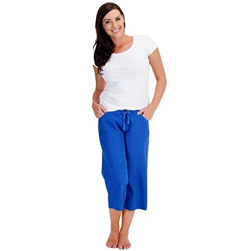 ladies-womens-casual-3-4-capri-crop-short-linen-trousers-summer-ln563-14-royal-blue