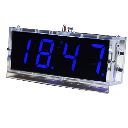 KKMOON Kompakte 4-stellige DIY LED Digitaluhr Kit Light Control Temperaturanzeige Datum Zeit mit transparenten Etui (Blau)
