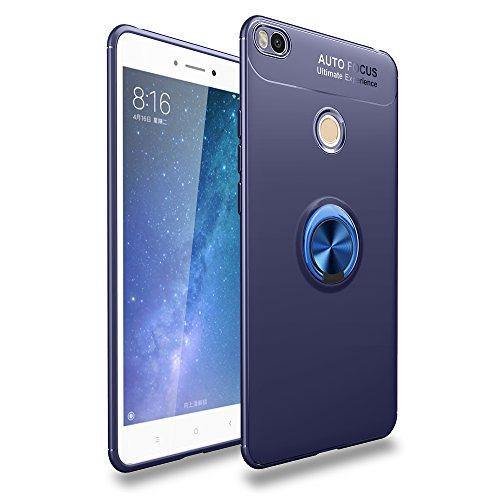 Faliang XiaoMi Mi Max 2 Hülle, Silikon Schutzhülle Autonavigation Hüllen, Metall 360 Grad Drehbare Magnetisch Ringschnalle Case für XiaoMi Mi Max 2 (Blau)