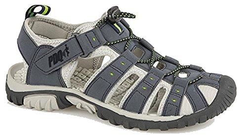 Pdq - sandali sportivi da uomo con chiusura toggle & touch, blu (navy/lime), 42.5