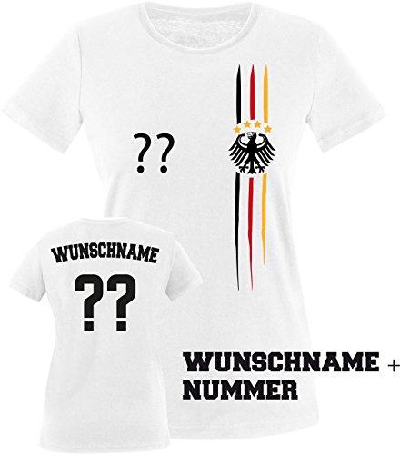 Luckja EM 2016 Deutschland Trikot Wunschname und Wunschnummer M 03 Damen Rundhals T-Shirt