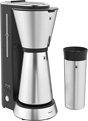 WMF Cuisine Minis Aroma Cafetière Filtre (avec verseuse isotherme (750ml) et to Go Gobelet isotherme (350ml), Minuteur 24heures, design compact, Peu encombrant, Cromargan),Argent