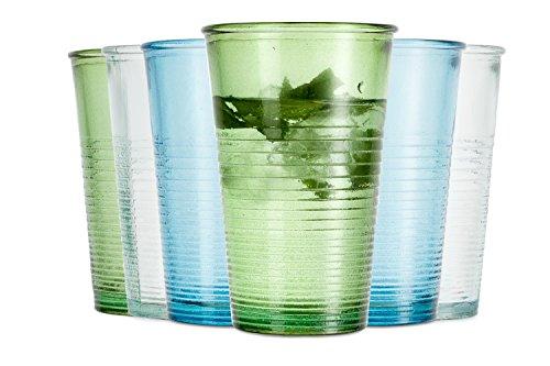 Jamie Oliver recycelte Gläser / 6-teiliges Set / 300 ml / Wassergläser / In 3 verschiedene Farben / Spülmaschinenfest