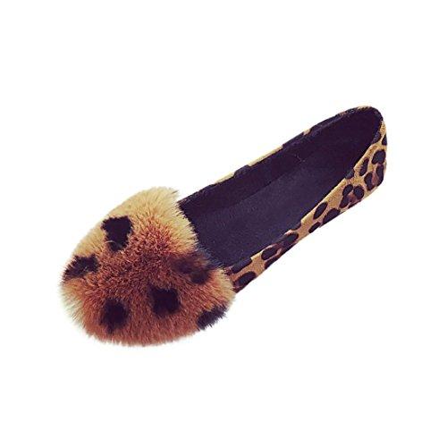 Femme Ballerines Duveteuses en Fausse,Overdose Automne Hiver Chaussures Mocassins Plates à Enfiler Casual Loafers Flats
