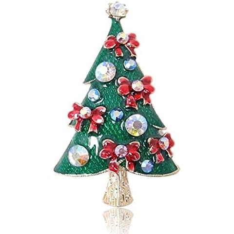 EVER FAITH® Albero di Natale di Bowknot dello smalto rosso Spilla in cristallo austriaco