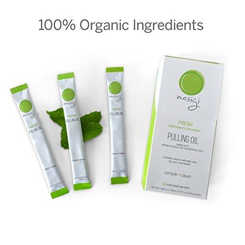 Masigi Oil Pulling Tirando aceite nuevo enjuague bucal elaborado con orgánico aceite de coco + Aceites Esenciales. 14 de una sola porción, apto para viajes paquetes.