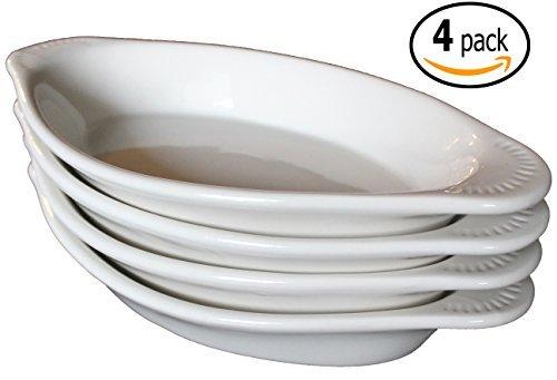 CAC Ceramic Oval Rarebit / Au Gratin Baking Dish with Pan Scraper, Set of 4, Bone White (15 Ounce) by MBW NW Brands Bone Scraper