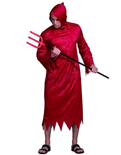 EraSpooky Herren Teufel-Kostüm rotes Robe mit Kapuze Fasching Karneval (Rote Robe Kostüme)