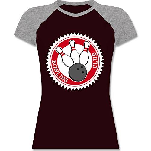 Bowling & Kegeln - Bowling Club Badge Abzeichen - zweifarbiges Baseballshirt / Raglan T-Shirt für Damen Burgundrot/Grau meliert